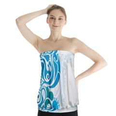 Garphic Leaf Flower Blue Strapless Top