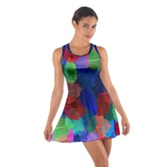 Floral Flower Rainbow Color Cotton Racerback Dress