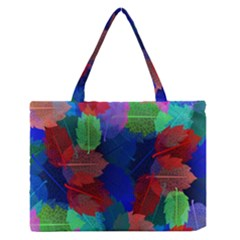 Floral Flower Rainbow Color Medium Zipper Tote Bag by Jojostore