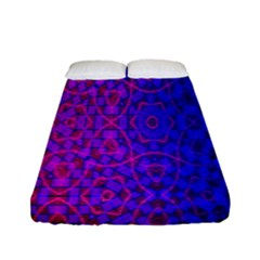Geometri Purple Pink Blue Shape Pattern Flower Fitted Sheet (full/ Double Size) by Jojostore