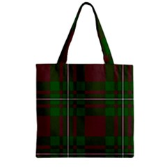 Cardney Tartan Fabric Colour Green Zipper Grocery Tote Bag