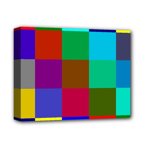 Chessboard Multicolored Deluxe Canvas 14  X 11  by Jojostore