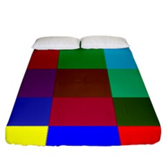 Chessboard Multicolored Fitted Sheet (king Size)