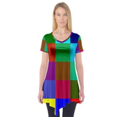 Chessboard Multicolored Short Sleeve Tunic