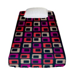 Abstract Squares Fitted Sheet (single Size) by Jojostore