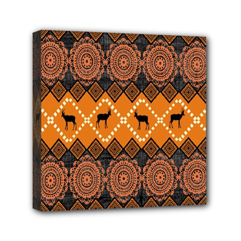 African Pattern Deer Orange Mini Canvas 6  X 6  by Jojostore
