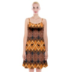 African Pattern Deer Orange Spaghetti Strap Velvet Dress
