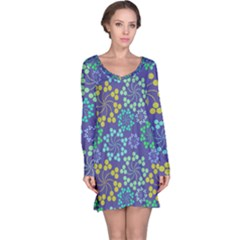 Color Variationssparkles Pattern Floral Flower Purple Long Sleeve Nightdress by Jojostore