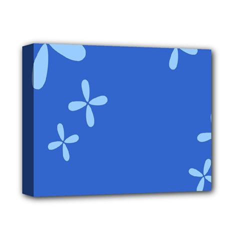 Flower Floral Blue Deluxe Canvas 14  X 11  by Jojostore
