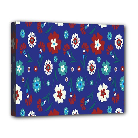 Flower Floral Flowering Leaf Blue Red Green Deluxe Canvas 20  X 16   by Jojostore