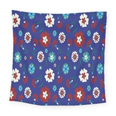 Flower Floral Flowering Leaf Blue Red Green Square Tapestry (large) by Jojostore