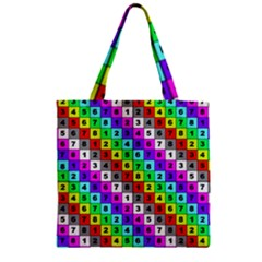 Mapping Grid Number Color Zipper Grocery Tote Bag by Jojostore