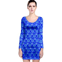 Neon Circles Vector Seamles Blue Long Sleeve Bodycon Dress