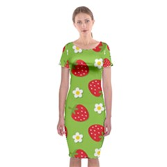Strawberries Flower Floral Red Green Classic Short Sleeve Midi Dress by Jojostore