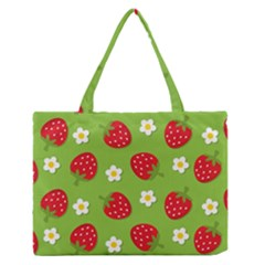 Strawberries Flower Floral Red Green Medium Zipper Tote Bag by Jojostore