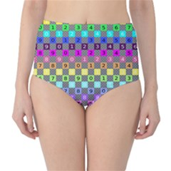 Test Number Color Rainbow High Waist Bikini Bottoms