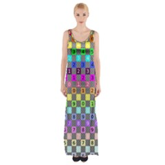 Test Number Color Rainbow Maxi Thigh Split Dress
