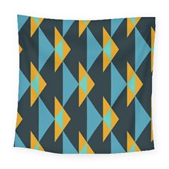 Yellow Blue Triangles Pattern                                                       Square Tapestry by LalyLauraFLM