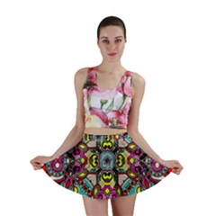 Traitional Floral Purple Mini Skirt by Brittlevirginclothing