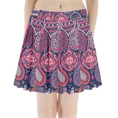 Colorful Bohemian Purple Leaves Pleated Mini Skirt by Brittlevirginclothing
