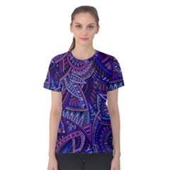 Abstract Electric Blue Hippie Vector  Women s Cotton Tee by Brittlevirginclothing