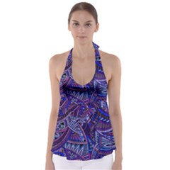Abstract Electric Blue Hippie Vector  Babydoll Tankini Top by Brittlevirginclothing