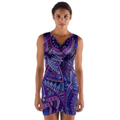 Abstract Electric Blue Hippie Vector  Wrap Front Bodycon Dress by Brittlevirginclothing
