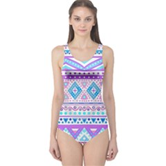 Tribal Pastel Hipster  One Piece Swimsuit by Brittlevirginclothing