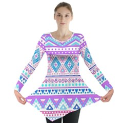Tribal Pastel Hipster  Long Sleeve Tunic  by Brittlevirginclothing
