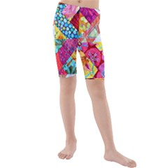 Colorful Hipster Classy Kids  Mid Length Swim Shorts by Brittlevirginclothing