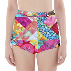 Colorful Hipster Classy High-waisted Bikini Bottoms by Brittlevirginclothing
