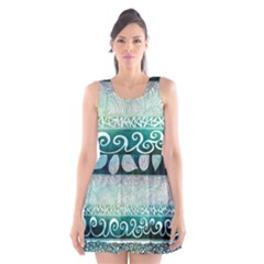 Deep Blue Tribal Scoop Neck Skater Dress by Brittlevirginclothing