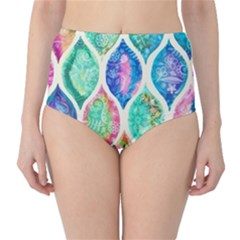 Rainbow Moroccan Mosaic  High Waist Bikini Bottoms by Brittlevirginclothing