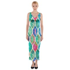 Rainbow Moroccan Mosaic  Fitted Maxi Dress by Brittlevirginclothing