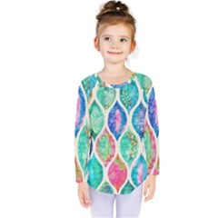 Rainbow Moroccan Mosaic  Kids  Long Sleeve Tee by Brittlevirginclothing