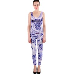 Electric White And Blue Roses Onepiece Catsuit by Brittlevirginclothing