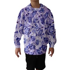 Electric White And Blue Roses Hooded Wind Breaker (kids) by Brittlevirginclothing
