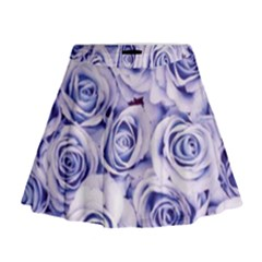 Electric White And Blue Roses Mini Flare Skirt by Brittlevirginclothing
