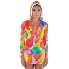 Rainbow Balloon Women s Long Sleeve Hooded T Shirt by Brittlevirginclothing