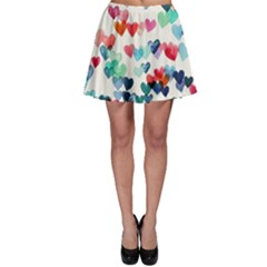 Cute Rainbow Hearts Skater Skirt by Brittlevirginclothing