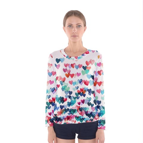 Cute Rainbow Hearts Women s Long Sleeve Tee by Brittlevirginclothing