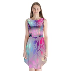 Colorful Leaves Sleeveless Chiffon Dress   by Brittlevirginclothing