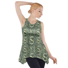 Money Symbol Ornament Side Drop Tank Tunic