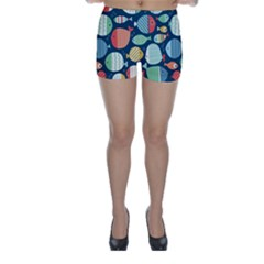Cute Small Marine Fish Skinny Shorts by Brittlevirginclothing