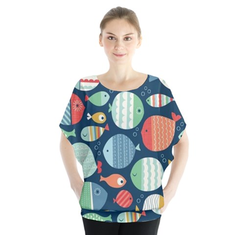 Cute Small Marine Fish Blouse by Brittlevirginclothing