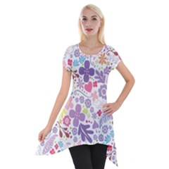 Colorful Flower Short Sleeve Side Drop Tunic