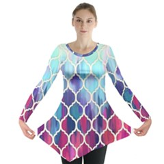 Purple Moroccan Mosaic Long Sleeve Tunic  by Brittlevirginclothing