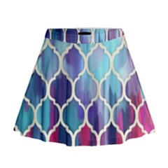 Purple Moroccan Mosaic Mini Flare Skirt by Brittlevirginclothing