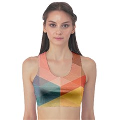Colorful Warm Colored Quares Sports Bra by Brittlevirginclothing