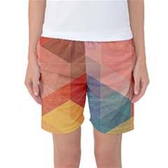 Colorful Warm Colored Quares Women s Basketball Shorts by Brittlevirginclothing